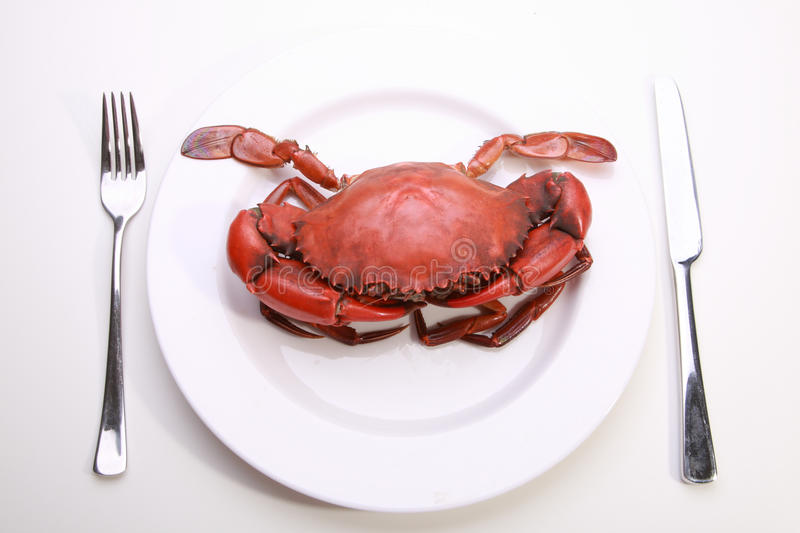 Crab on plate stock images