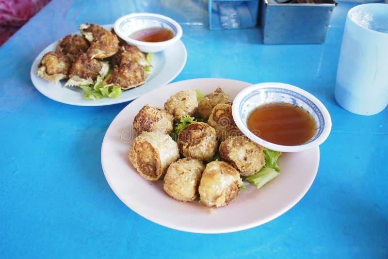 Crab sausage Hoi Jor chinese appetizers royalty free stock image