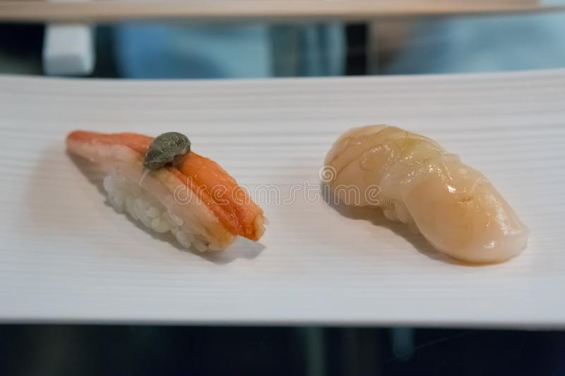 Crab and Scallop Sushi stock photos