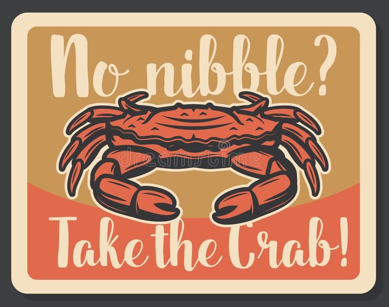 Crab seafood fishing vector vintage poster vector illustration