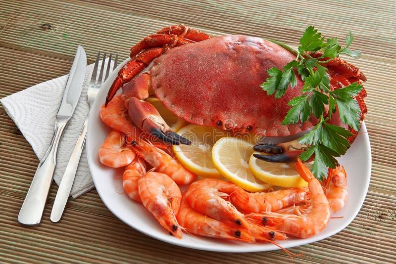 Crab with shrimp stock photo