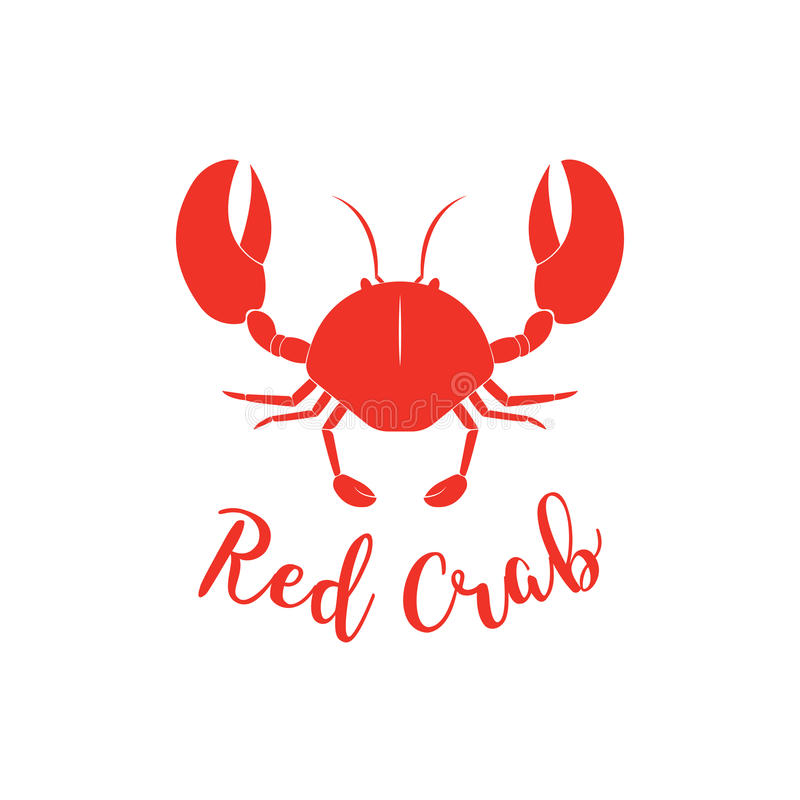 Crab silhouette. Seafood shop logo branding template for craft food packaging or restaurant design royalty free illustration