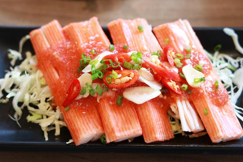 Crab stick spicy salad in Japanese restaurant royalty free stock photo