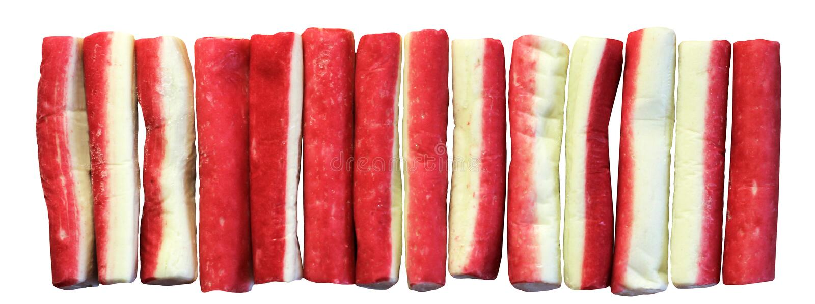 Crab sticks group isolated on white background, top view stock photo