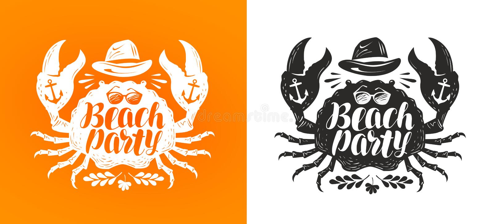 Crab, typographic design. Travel, journey concept. Beach party, lettering vector illustration. Crab, typographic design. Travel, journey concept Beach party stock illustration