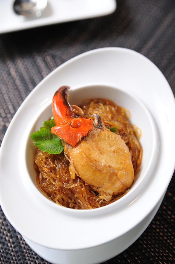 Crab and vermicelli stock images