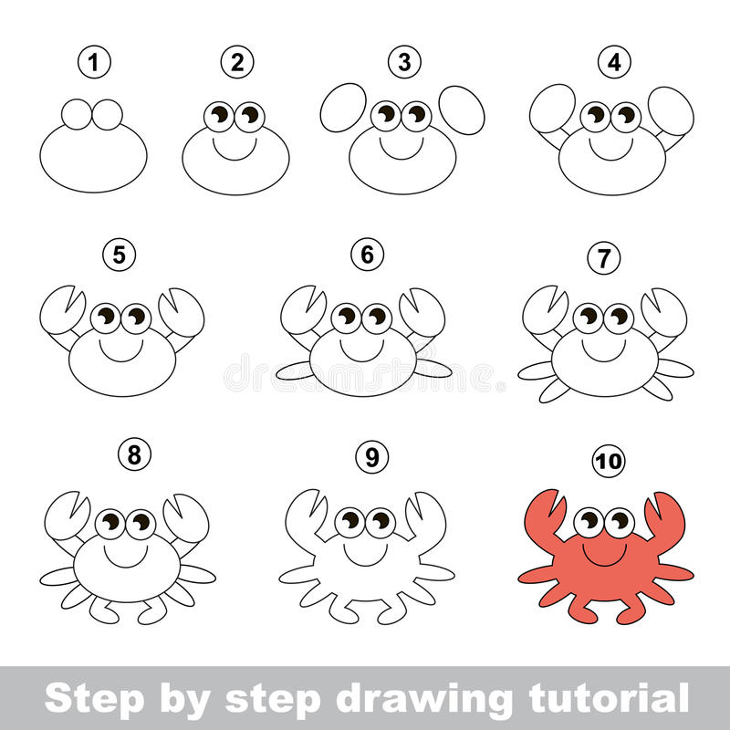 Crabe Cours de dessin illustration de vecteur