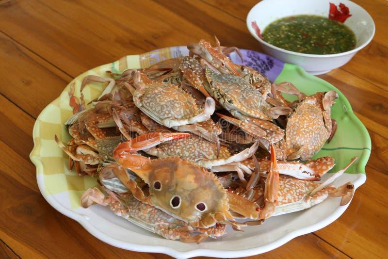 Crabe cuit à la vapeur dans le paraboloïde photographie stock libre de droits