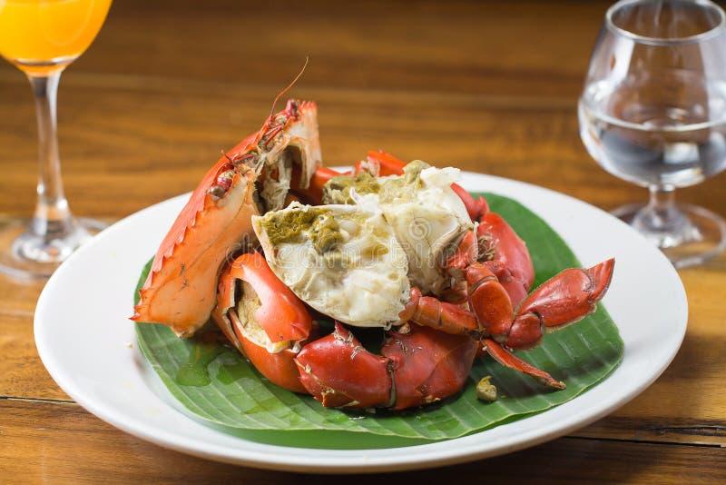 Crabe de courant au style thaïlandais de fruits de mer images libres de droits