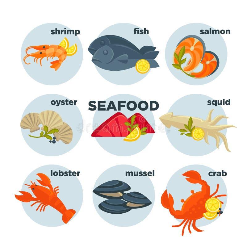 Crabe de fruits de mer, homard, poissons et crevette figés, saumon de calmar, crevette rose, huître de moule illustration libre de droits