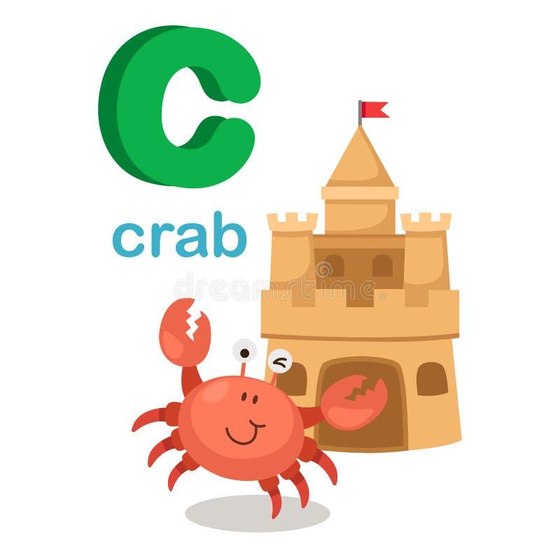 Crabe de la lettre C d'alphabet d'isolement par illustration illustration de vecteur