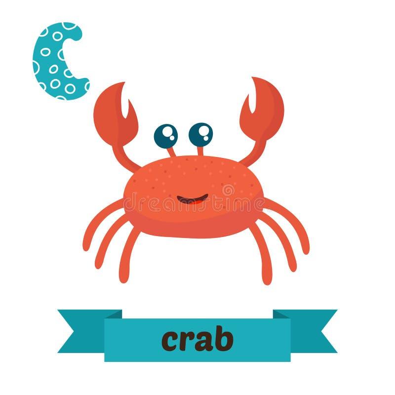 Crabe Lettre de C Alphabet animal d'enfants mignons dans le vecteur C drôle illustration libre de droits