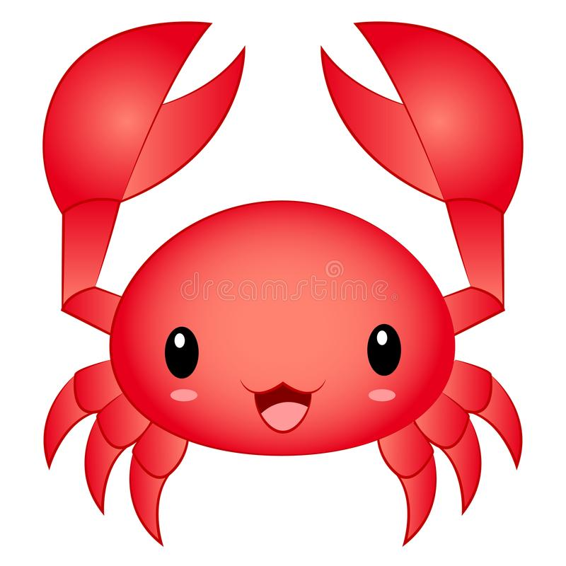 Crabe mignon de Kawaii Chibi de bande dessinée d'illustration de vecteur illustration de vecteur