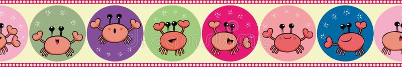 Crabe mignon jonglant avec des bulles dans la conception de frontière Modèle géométrique sans couture de vecteur sur le fond jaun illustration libre de droits
