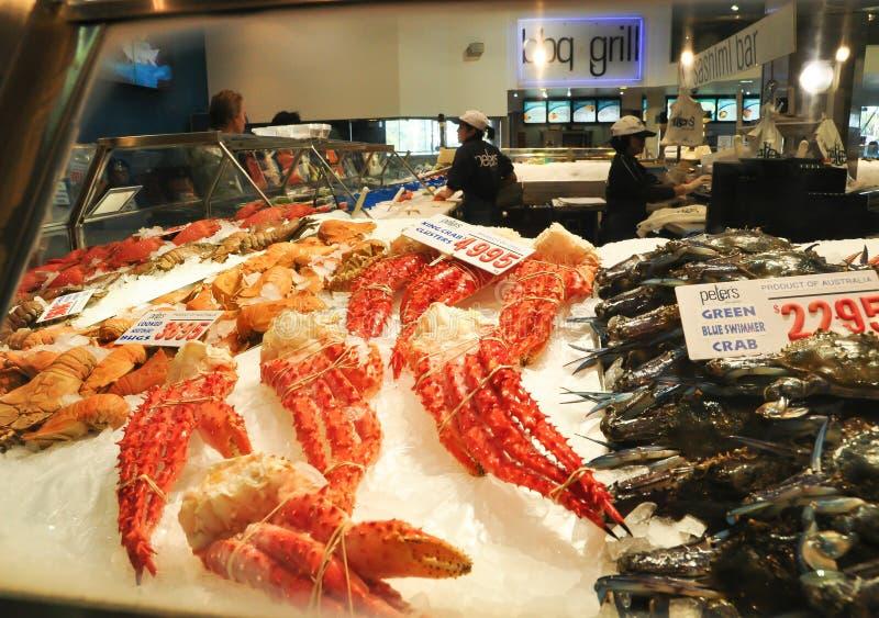 Crabe Pacifique gelant pour la vente à la poissonnerie de Sydney images libres de droits