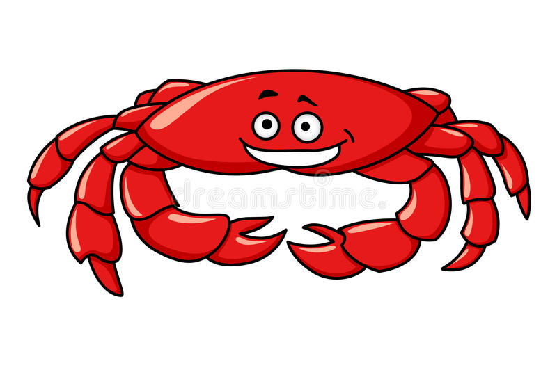 Crabe rouge coloré de bande dessinée illustration stock