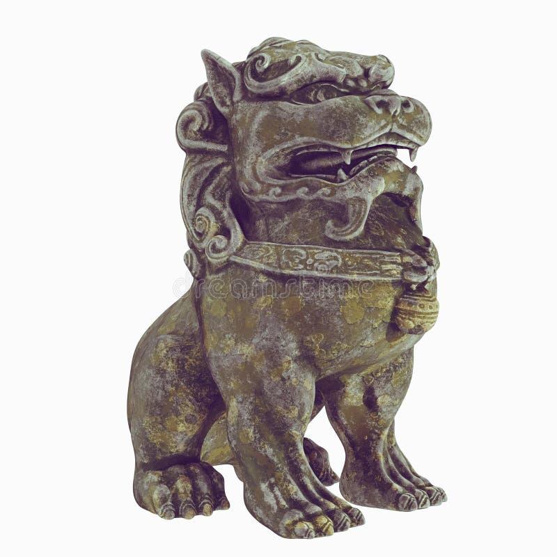 Crabot de Foo Sculpture d'un lion de gardien de chinois traditionnel Chien asiatique mod?le 3d rendez D'isolement sur le fond bla image libre de droits