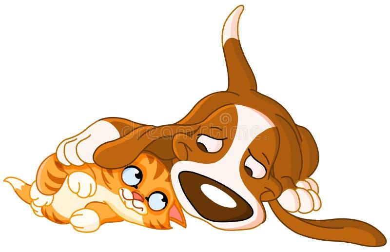 Crabot et chat illustration stock