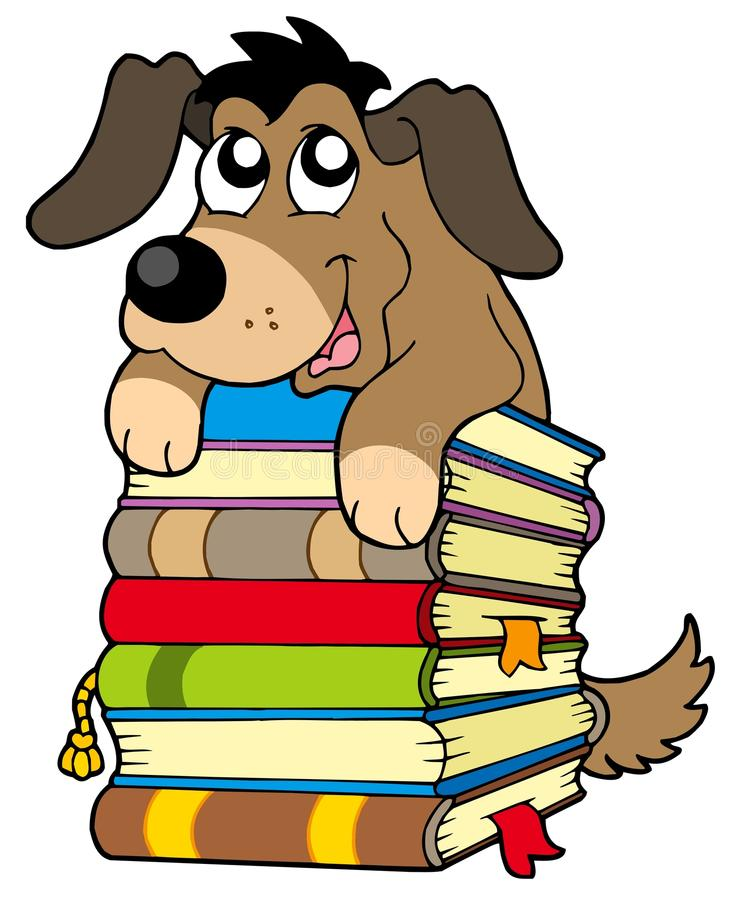 Crabot mignon sur la pile des livres illustration libre de droits