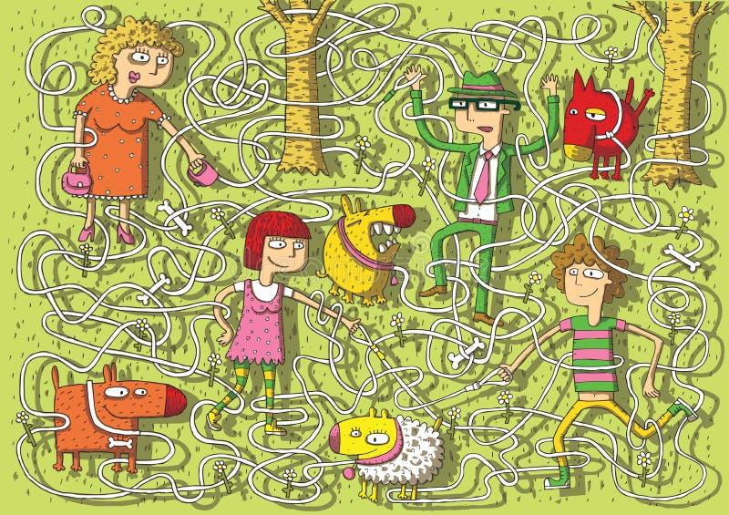 Crabots de marche dans le jeu de labyrinthe de stationnement illustration stock