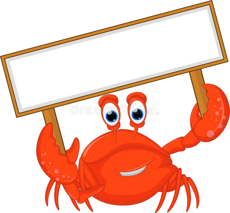 Crabs cartoon with blank sign. Illustration of crabs cartoon with blank sign royalty free illustration