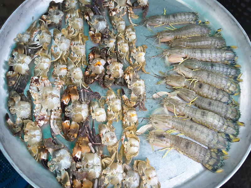 Crabs raw fresh in market. Seafood stock image