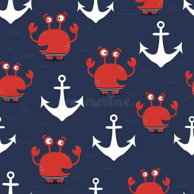 Crabs and sea anchors, seamless pattern. Crabs, sea anchors, hand drawn seamless pattern. Marine background vector. Colorful illustration, overlapping backdrop royalty free illustration