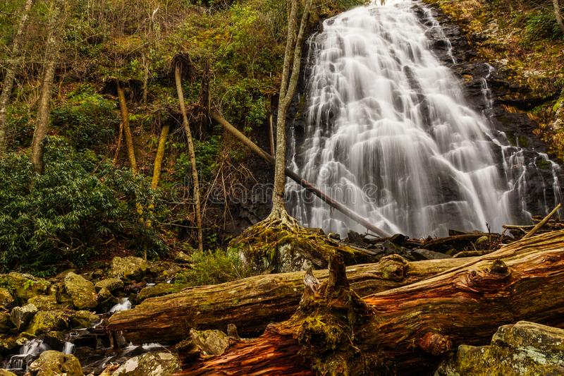 Crabtree Falls, a Blue Ridge Parkway waterfall. Crabtree Falls near the Blue Ridge Parkway in North Carolina, United States royalty free stock photo