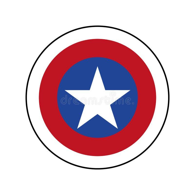 Crachá americano do patriota com estrela branca Protetor do capitão America com vetor eps10 da estrela ilustração stock