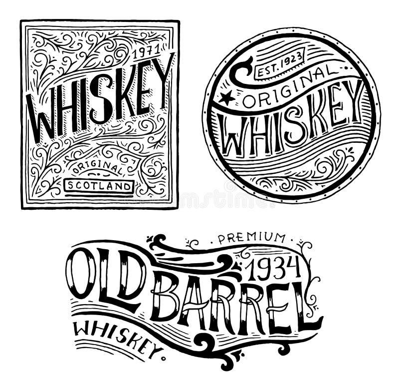 Crachá americano do uísque do vintage Etiqueta alcoólica com elementos caligráficos Rotulação gravada tirada mão do esboço para t ilustração stock