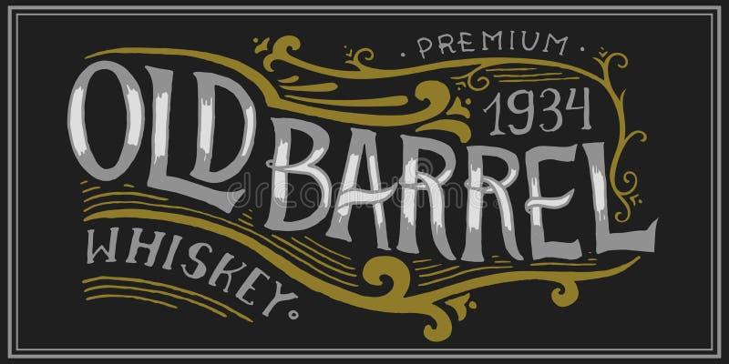 Crachá americano do uísque do vintage Etiqueta alcoólica com elementos caligráficos Rotulação gravada tirada mão do esboço para t ilustração royalty free