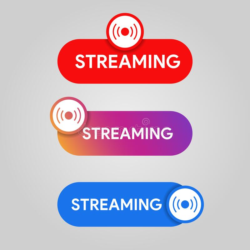 Crachá ao vivo das mídias sociais Ícone de transmissão e transmissão de aplicativos móveis Vermelho conjunto de sinais de cor azu imagens de stock