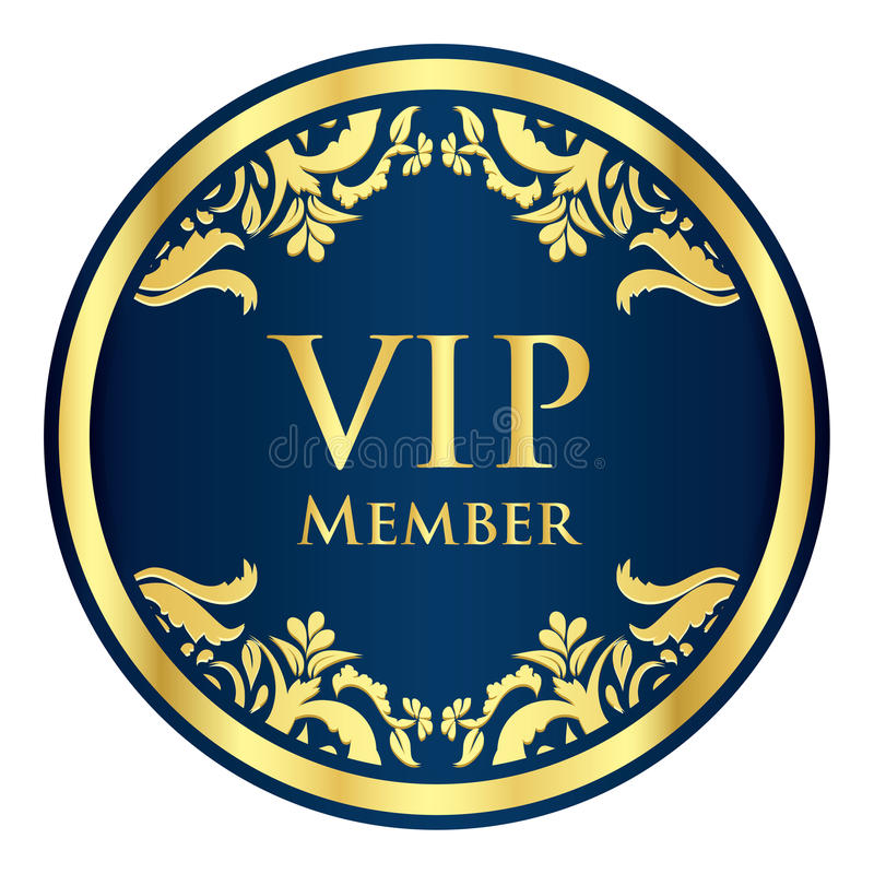 Crachá azul do membro do VIP com teste padrão dourado do vintage ilustração do vetor