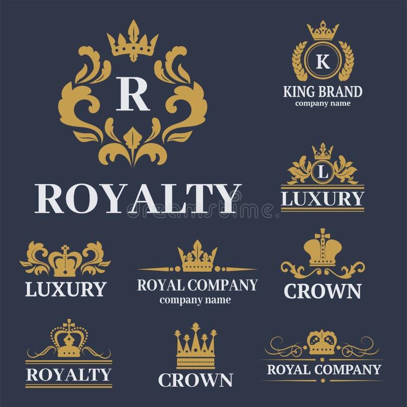 Crachá branco superior do vintage do rei da coroa ilustração do vetor