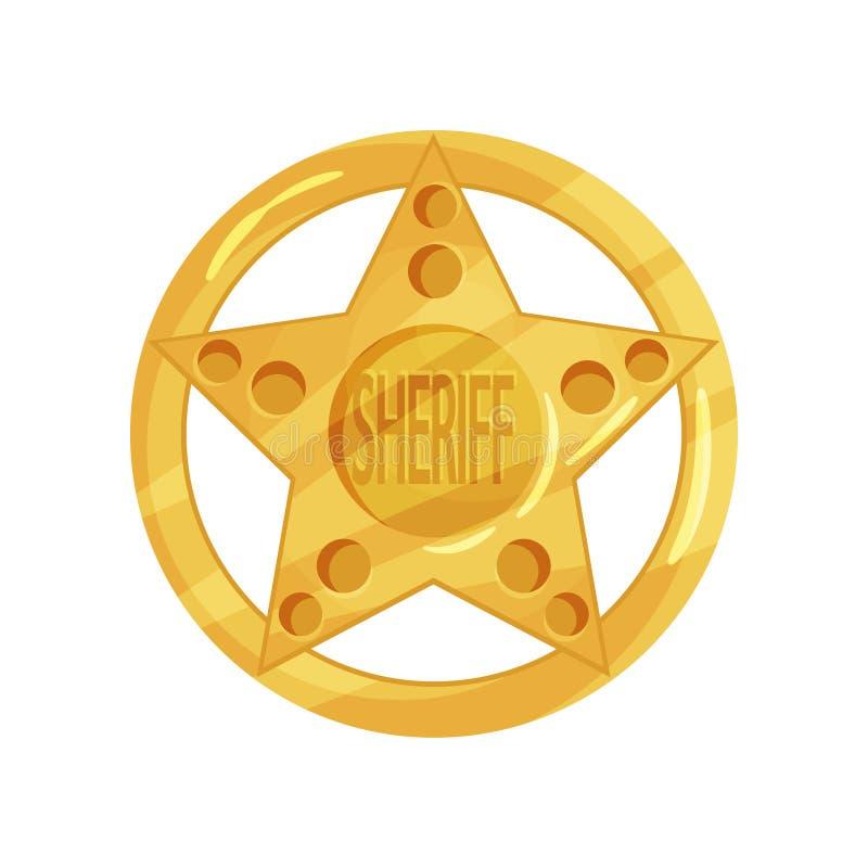 Crachá brilhante do agente da polícia na forma da estrela com xerife da palavra Ilustração do vetor dos desenhos animados no esti ilustração do vetor