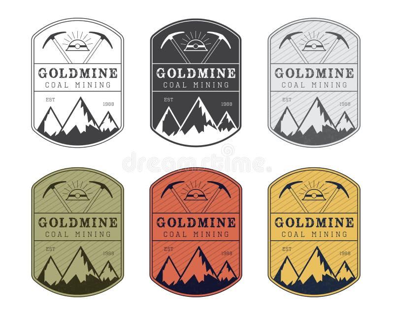 Crachá carbonoso do logotipo no estilo do vintage cores diferentes ilustração stock