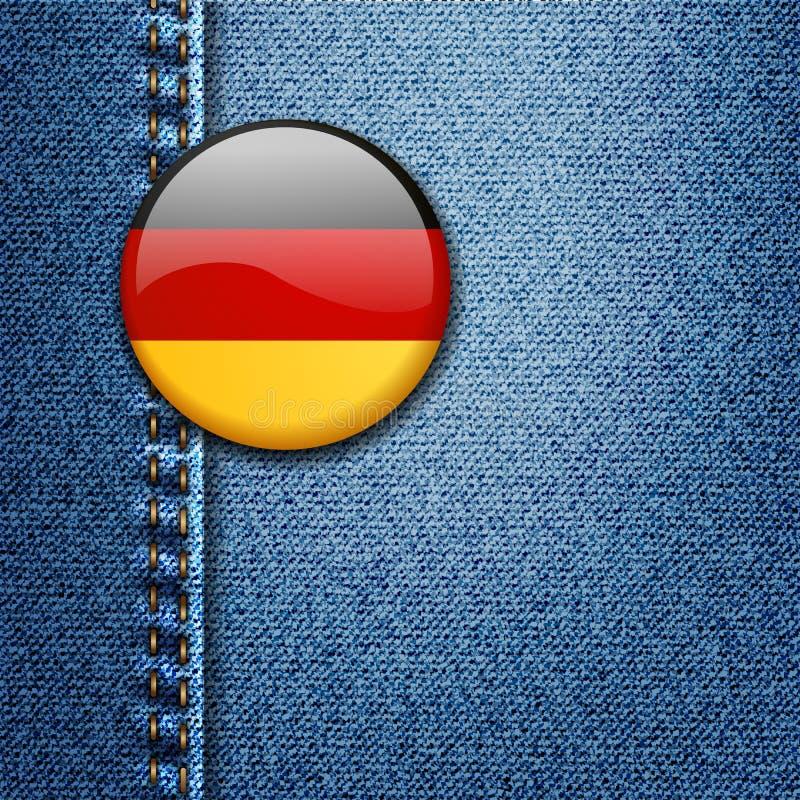 Crachá colorido brilhante de Alemanha no vetor da textura da tela da sarja de Nimes ilustração royalty free