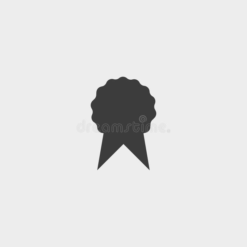 Crachá com ícone das fitas em um projeto liso na cor preta Ilustração EPS10 do vetor ilustração royalty free