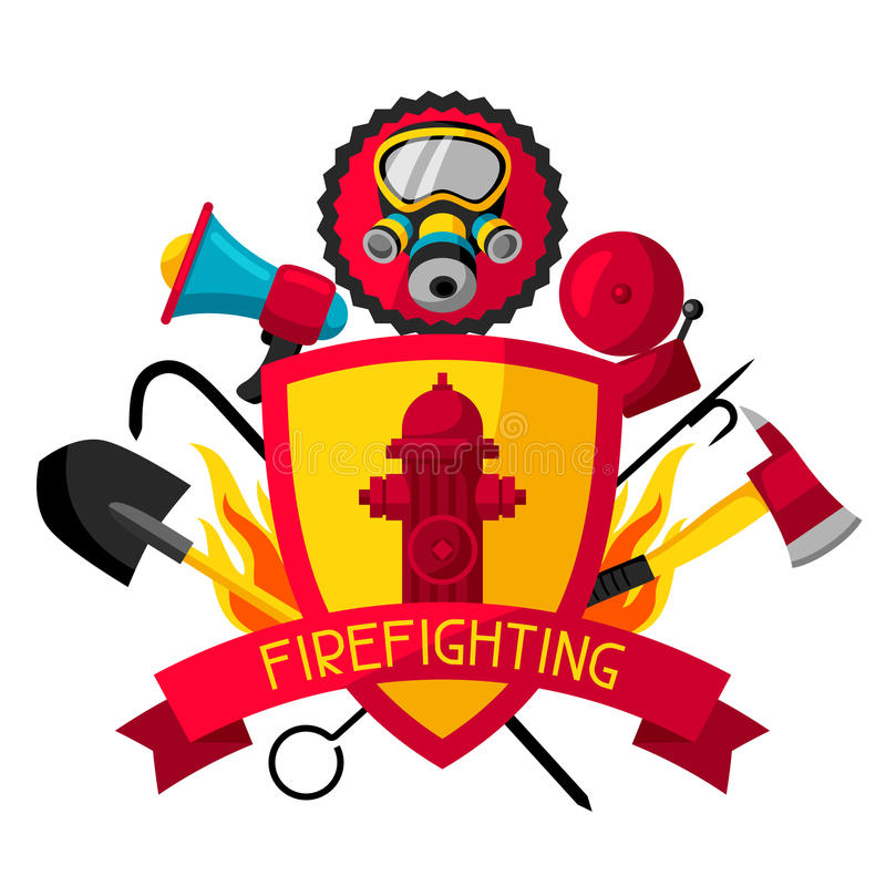 Crachá com artigos de combate ao fogo Equipamento da proteção contra incêndios ilustração do vetor