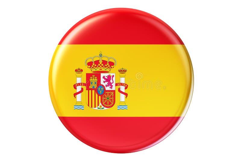 Crachá com a bandeira da Espanha, rendição 3D ilustração royalty free