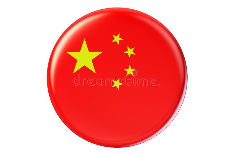 Crachá com a bandeira de China, rendição 3D ilustração royalty free
