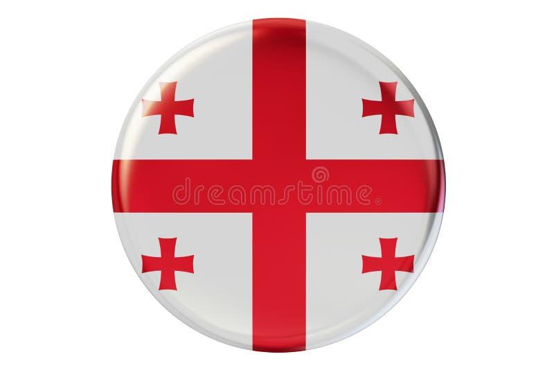 Crachá com a bandeira de Geórgia, rendição 3D ilustração stock