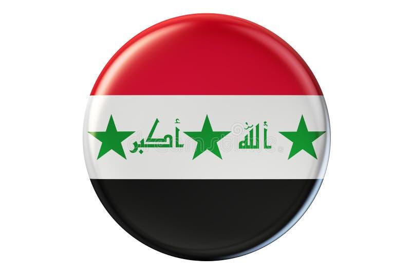 Crachá com a bandeira de Iraque, 3D ilustração stock