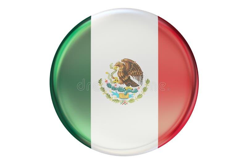Crachá com a bandeira de México, rendição 3D ilustração stock