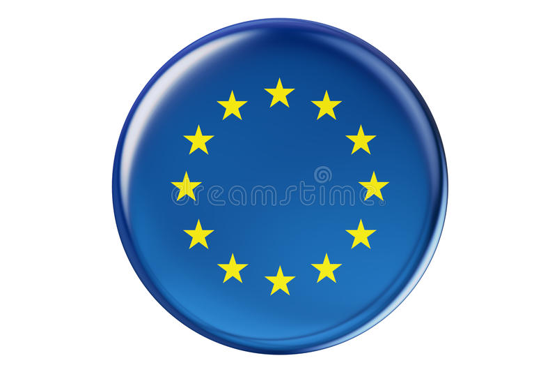 Crachá com a bandeira de UE, rendição 3D ilustração do vetor