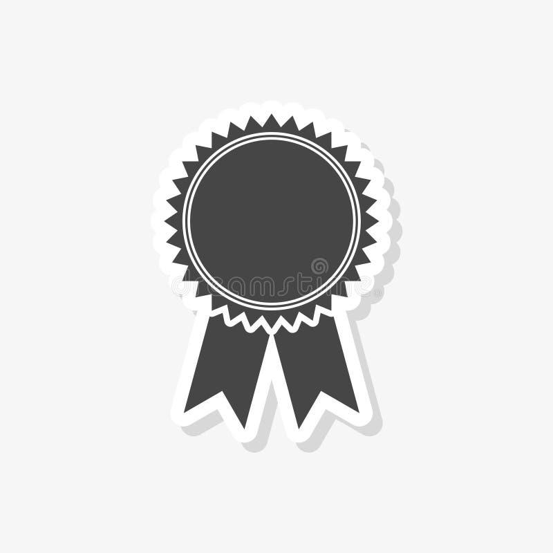 Crachá com fitas etiqueta, fita da concessão, ícone simples do vetor ilustração stock