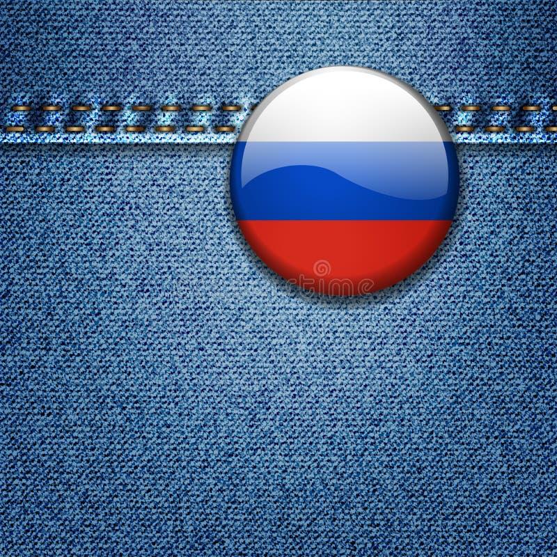 Crachá da bandeira do russo na textura da tela da sarja de Nimes ilustração do vetor