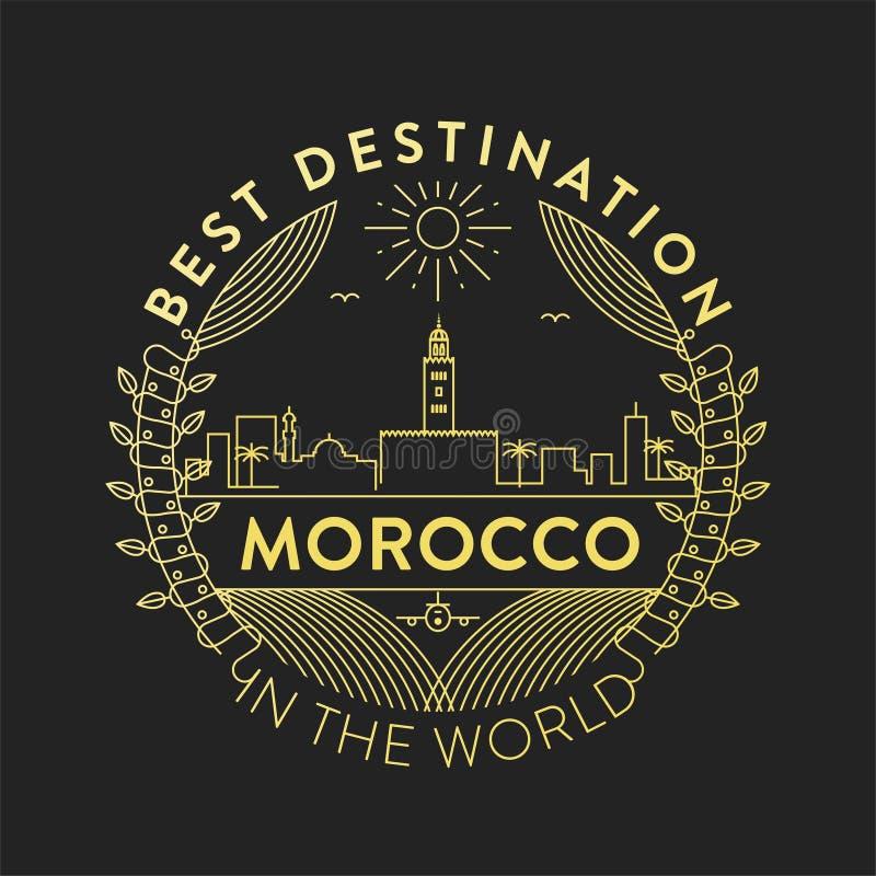 Crachá da cidade de Marrocos do vetor, estilo linear ilustração stock