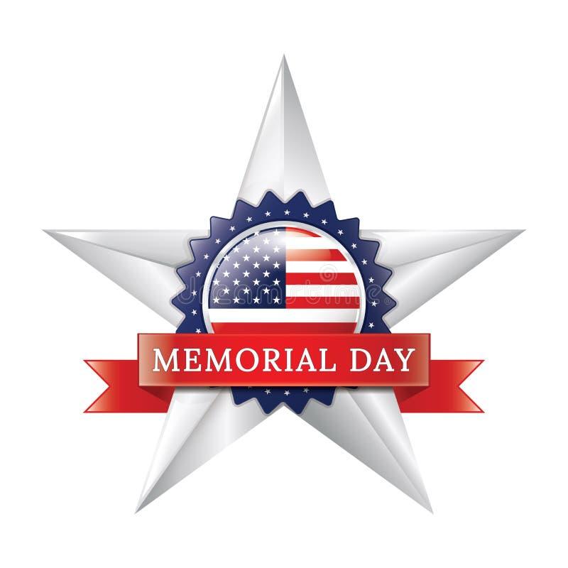 Crachá da estrela do Memorial Day ilustração do vetor