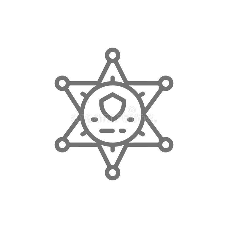 Crachá da estrela do xerife, linha de polícia ícone ilustração royalty free